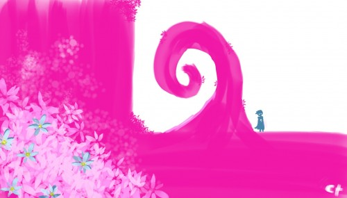 白とピンクのイメージスケッチ[AutodeskSketchBookPro2010]